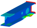 An deformed view of an I-beam with color contour plot